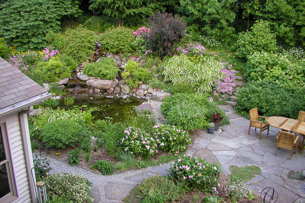 Patio and pond area in mid spring